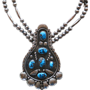 Native American Silver & Turquoise Pendant Necklace BP 1967