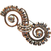 Ornate Napier Sterling & Gold Plated Brooch 1940's