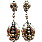 Vintage 1950's Napier Silver Plated Clip Earrings  HUGE!