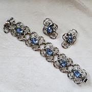 Beautiful Napier silver and blue rhinestone bracelet & earrings