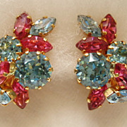 Vintage Outstanding Schoffel of Austria pink and blue rhinestone earrings