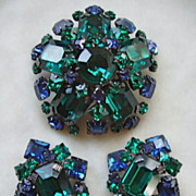 SALE Schreiner emerald green and Montana blue rhinestone brooch set