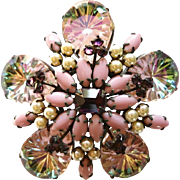 Vintage Unsigned Schreiner Faux Pearls Pink Milk Glass Faux Amethyst Rhinestone Brooch