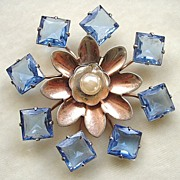 SALE 1940's Sterling and unfoiled blue crystals brooch