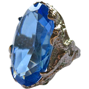 Art Nouveau Sterling Blue Glass Ring with Griffons