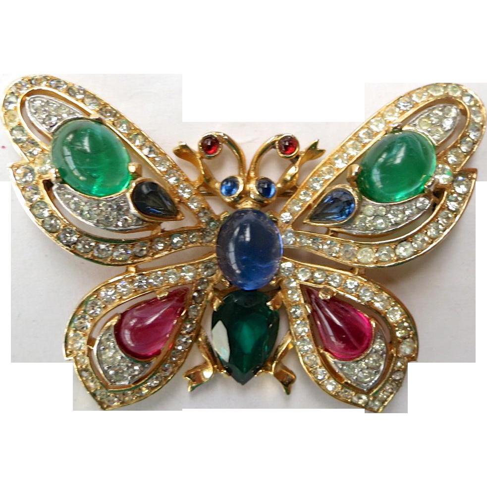 Trifari Jewels Of India Glass Cabochons Rhinestone
