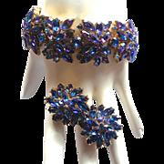 SALE Vintage Trifari Heliotrope Navette Rhinestone Bracelet & Clip Earrings