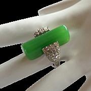 Trifari Green Lucite & Rhinestone Art Deco Style Ring