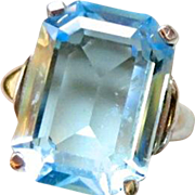 Vendome Adjustable Faux Blue Topaz Aquamarine Glass Ring