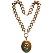 Victorian 18k Gold Filled Buckle Locket and Book Chain Necklace