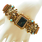 Chunky Victorian Revival Glass and Floral Link Bracelet