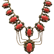 Vintage Victorian Revival Orange and Green Cabochon Festoon Necklace