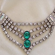 SALE Art Deco style rhinestone necklace with green cabochons