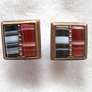 Victorian Banded Agate Cuff Links
