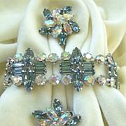 Striking blue grey & AB rhinestone bracelet set