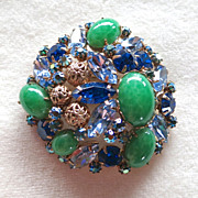 D&E Juliana Faux Jade, Filigree Balls, and Blue Rhinestone Brooch