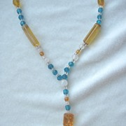 SALE Long Czech Amber, Blue, White Glass Necklace