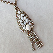 SALE Vintage white milk glass rhinestone dangles necklace