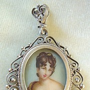Charming miniature portrait painting pendant 800 silver