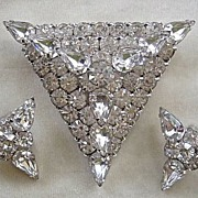 SALE Flashy vintage triangle clear rhinestone pin and clip earrings set ~ bridal!
