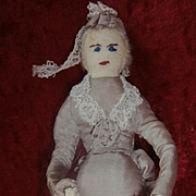 Vintage Miniature Cloth  Doll with Umbrella