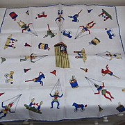 Lovely  Rare Small Vintage Scarf with Toys, Punch and Judy, Dog on Wheels, Puppets