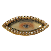 "The ""Eyes"" have It--Victorian Brooch In Gold With Pearls"