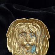 Antique brass dog trinket tray