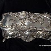 Large antique silver metal spelter Art Nouveau poppy casket