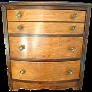 Child's miniature burl walnut dresser doll chest of drawers C. 1940