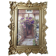 Victorian 19th C. gold gilt gesso picture frame in shadow box with garden print
