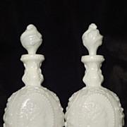 Fostoria pair vintage Jenny Lind milk glass cologne barber bottles