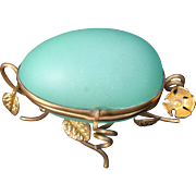 Antique French Casket Green Opaline Glass Egg Box on Gilt Floral Ormolu Stand