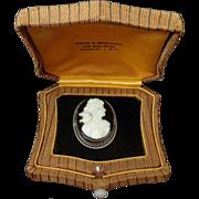 Onyx Cameo 14k gold brooch woman with love bird in original presentation box