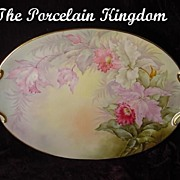 Paul Putzki Limoges Cattleya Orchid Dresser Tea Tray French Porcelain Masterpiece
