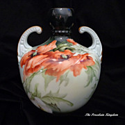 Limoges French double handle hand painted muscle vase rich poppies artist signed E. Miler