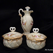 Limoges French perfume ewer and trinket ring boxes hearts and bows