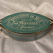French Art Deco face powder box Poudre De Riz Au Muguet Paris