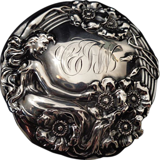 Sterling silver brilliant cut glass Art Nouveau mermaid dresser jar box 1903