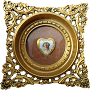 Cameo Creations framed porcelain heart shaped jeweled plaque of Art Nouveau woman by Georges L