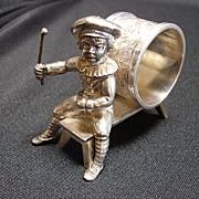 Figural Napkin Ring, Kate Greenaway Boy on Bench