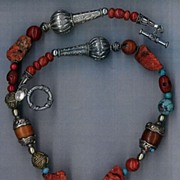 Tibetan Naga Beads Conch Beads Amber  : Copal and Coral