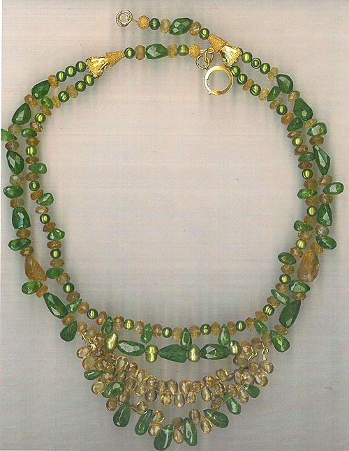 Peridot Citrine beads : Envy (Cultured Pearls)