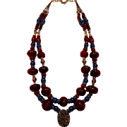 Red Rubies & Kyanite beads : Fire and Water