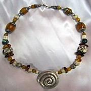 SALE Tibetan Beeswax Amber beads, Conch beads : Naga Saga (Out of this World)