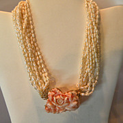 SOLD Enormous Carved Angel Skin 14 KT. gold Clasp on Baroque (cultured) Pearl 18 inch Necklace