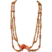 SALE Handmade Angel Skin Coral Necklace with Cultured Pearls & Vermeil 19 inches 80 grams