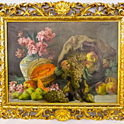 Lucinio Bazanti Italian Master Artist Magnificent Fruit Still Life Oil on Canvas