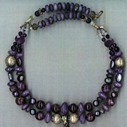 SALE Russian Chariote & Sugulite  beads Chalcedony Druzy : Phoinis (Greek for Purple)