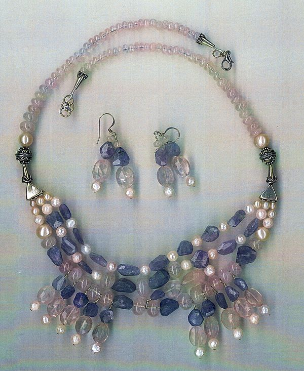 Imperial Morganite beads Tanzanite beads : Princess Morganite - with Cultured Pearls - with Earrings
